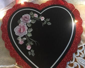 Hp shabby cottage pink roses heart glittered valentine