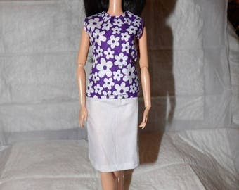 Purple & white floral sleeveless top and white skirt for Fashion Dolls- ed942