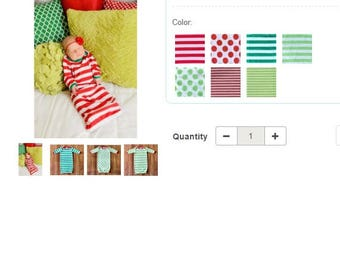 PREORDER for Christmas Gown 0-3m  Stripes & Dot's with monogram