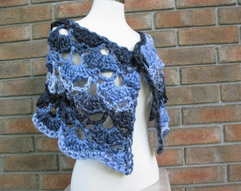 Bulky crochet cape,denim blue charcoal grey vintage pattern,rustic texture,variegated chunky shawl,large black button,buffalo horn button
