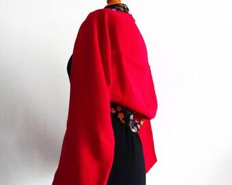 Boléro kimono rouge en tissu japonais, fleurs de cerisier T38/40