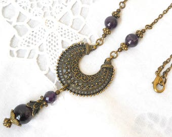 victorian necklace amethyst necklace purple necklace vintage style necklace victorian style necklace filigree necklace