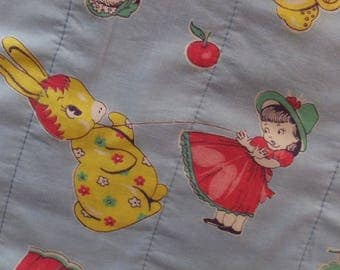 Vintage 1950's Positively Whimsical Childrens Girl Bear Bunny Donkey Baby Nursery Quilt