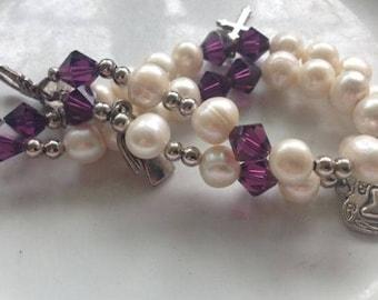 Amethyst Pearl Faith Bracelet~Purple Heart Cross Angel Saint GORGEOUS