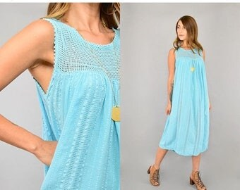 SUMMER SALE 70's Turquoise Gauze Dress