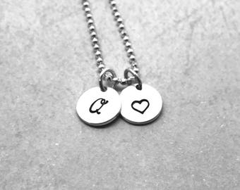 Initial Necklace, Heart Necklace, Sterling Silver, Letter Q Necklace, Hand Stamped Jewelry, Personalized Jewelry, All Letters Available