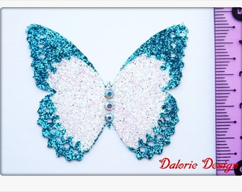 Luxury skin jewelry - Butterfly blue clear/white - french Tattoo - premium - rhinestones