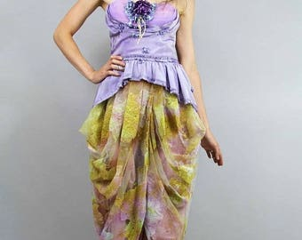 MEMORIAL SALE Mermaid DRAPED Strapless Pemplum Dress, Shelf Bustier Prom Gown w Antique Flowers, Redesigned Clothing by Tatiana Andrade