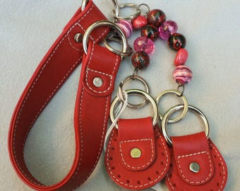 Strap for Purse Red Leather and beads