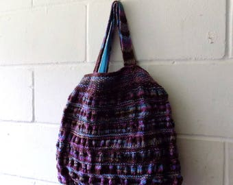 Hand Knitted Tote Bag, Purples and Blues Multi Coloured Handbag.