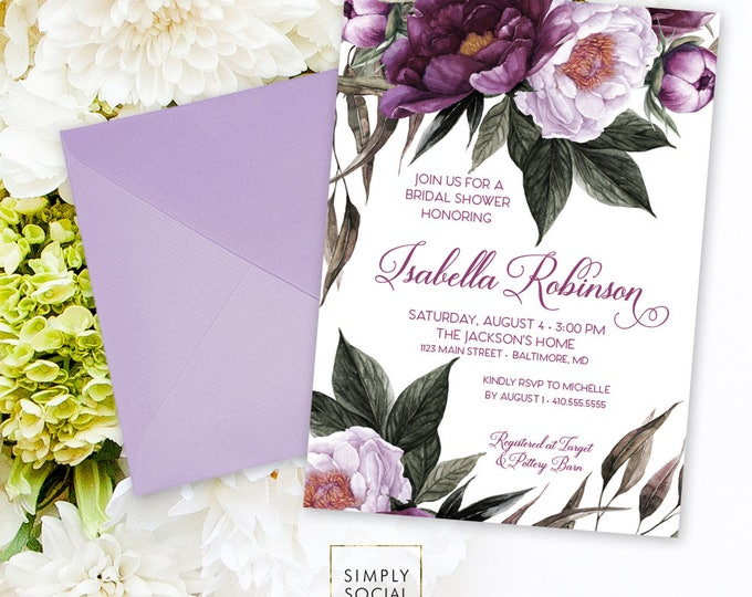 Purple Floral Bridal Shower Invitation - Greenery Purple Peonie Flowers Fall Autumn Bridal Shower Baby Shower Calligraphy Invite Printable