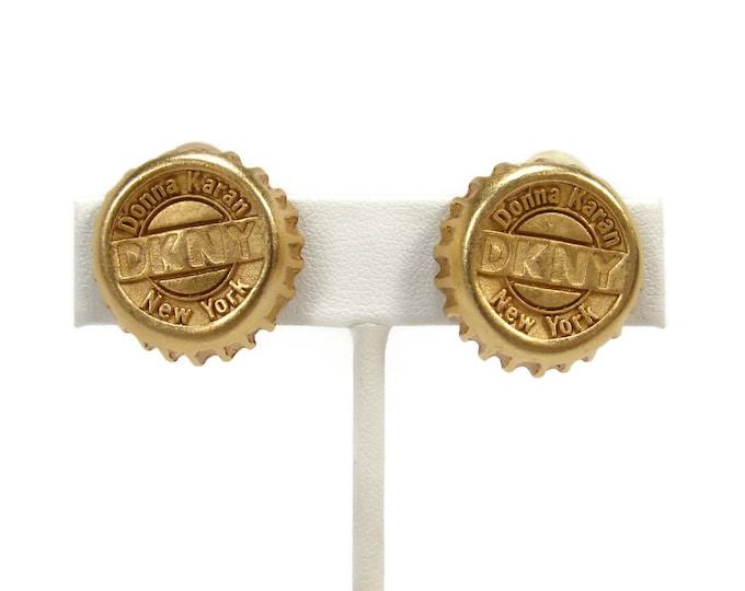 Donna Karan DKNY New York Bottle Cap Earrings  Vintage 1980s  Clip On Earrings