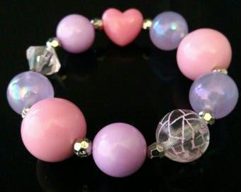 Chunky bubblegum heart bracelet