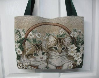 2 Kittens Sitting In A Basket Tapestry Tote Bag Ready To Ship