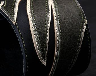 """Memorial Day Sale Leather Cuff:  olive and black leather cuff with wing design """"Green-Wing Cuff"""""""