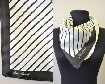 1960s Irma Shorell Black and White Scarf