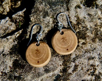 oak - sterling silver and natural wood earrings