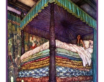GREAT SALE The Princess and the Pea from The Real Princess - Illustration by Edmund Dulac Counted Cross Stitch Chart / Pattern / Graph FREE