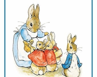Sweet Sale Peter and Family Get Ready for a Walk From the Tales of Peter Rabbit  by Beatrix Potter Counted Cross Stitch Chart / Pattern FREE