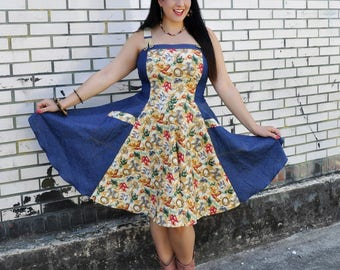 Cactus denim dress By TiCCi Rockabilly Clothing