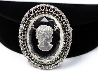 Glass Cameo Brooch with Rhinestones, Signed Warner, ca. 1950s