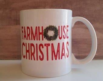 Farmhouse Christmas mug, Farm decor, Boxwood wreath