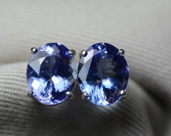 Tanzanite Earrings, 6.76 Carat Tanzanite Stud Earrings, Oval Cut, Sterling Silver, IGI Certified, Anniversary Birthday Christmas Present