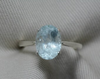 Aquamarine Ring, Aquamarine Solitaire 2.83 Carats Appraised At 425.00 Sterling Silver, Genuine Real Natural, March Birthstone Jewelry