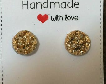 Gold Druzy Resin Stud Earrings
