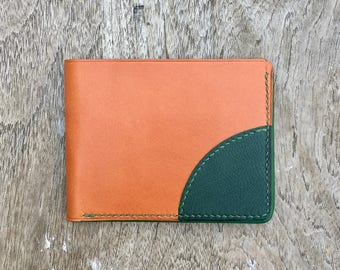 Taulis Wallet - Gold and Green leather wallet - mens leather goods - mens leather wallet - leather wallets for men - billfold wallet