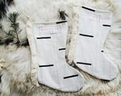 Fringed White and Black Mudcloth Christmas Stocking - Boho Christmas Stocking - Tribal Stocking with Fringe
