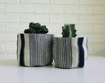 Indigo Stripe Hmong Plant Cover - Boho Textile Planter - Indoor Plant Container