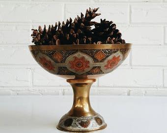 Vintage Mid Century Brass Cloisonné Peacock Bowl - Bohemian Modern Eclectic Decor