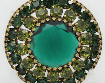 Weiss Emerald Green Vintage Brooch