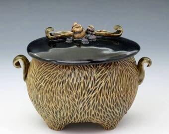 Olive celadon carved porcelain jar with black lid
