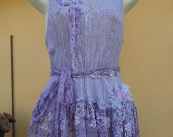 """20%OFF lagenlook bohemian lurex top with shabby lace...smaller to firm 42"""" bust..."""