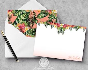 "A2 Flat Notecard Set - ""Tropical I"""