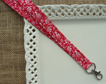 Fabric Lanyard - Flowers & Vines on Red