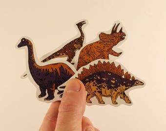 dinosaur stickers laptop labels tags illustration