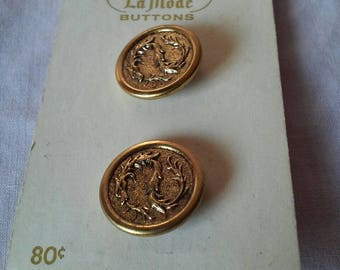 Antique Gold La Mode Dragon Buttons Made in France B. Blumenthal & Co.