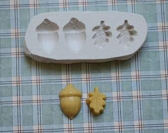 Moule glands et feuilles de chêne en silicone souple pour loisirs créatifs scrapbooking