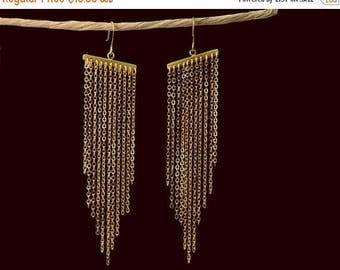 20% off. Long tassel earrings. Chevron triangle chain earrings. Long gold earrings.