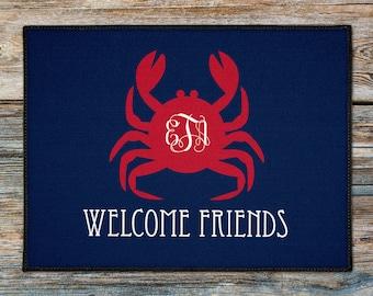 Personalized Door Mat, Beach Crab Door Rug, Beach House Doormat, Custom Doormat, Nautical Lake House Boat Welcome Mat, New Boat Gift