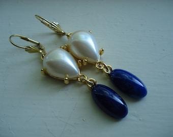 Vintage 1920's Czech Art Deco Lapis Lazuli and Pearl Glass Gold Earrings Bohemian Gablonz