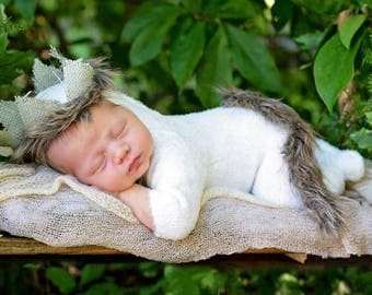 Handmade photo prop Newborn size  Where the Wild Things Are Crown  and tail Only outfit NOT included