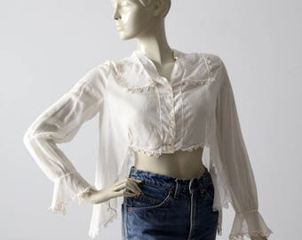 1900s blouse, Victorian white top, antique cotton shirt