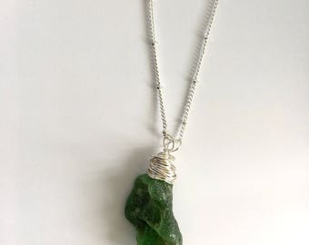 Twisted dark green sea glass necklace