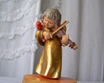 Vintage Anri Hand Carved Angel Music Box Plays The Anniversary Waltz  Vintage 1970s
