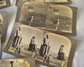Antique Eqypt Stereoview Cards Seven 3D View Cards Egypt Thebes Cairo Great Pyramid Giza Keystone Stereograph Cards circa Early 1900s