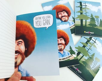 Bob Ross Notebook / Happy Little Accidents / Official Bob Ross product / Gift for an Artist / Bob Ross Quotes